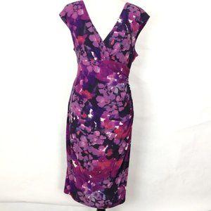 Ralph Lauren faux wrap dress purple floral 14